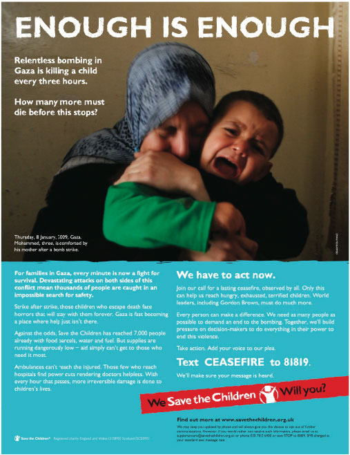 High impact ads drive response in out of home ads. Image copyright: Save the Children